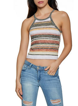 Knit Scoop Neck Striped Tank Top - 0300015990526