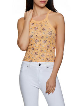 Flower Print Knit Tank Top - 0300015990527