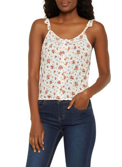Floral  Tie Back Button Front Top - 0300015990837
