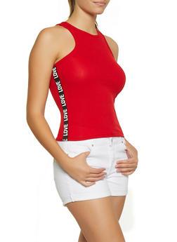 Love Tape Graphic Rib Knit Tank Top - 0300038349111