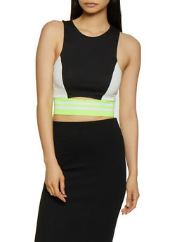 Color Block Cropped Tank Top - 0300058751853