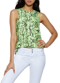 Snake Print High Low Tank Top - 0300058752350