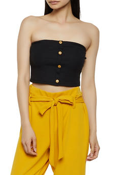 Ribbed Button Front Tube Top - 0300074297130