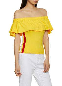 Side Stripe Off the Shoulder Top - 0301038349272