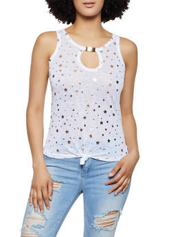Foil Star Print Sleeveless Top - 0301038349380