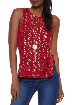 Anchor Print Knit Tank Top with Necklace - 0301038349424