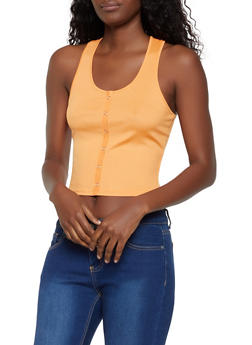 Button Detail Racerback Tank Top - 0301058752264