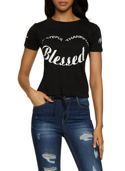 Grateful Thankful Blessed Drawstring Tee - 0302033870012