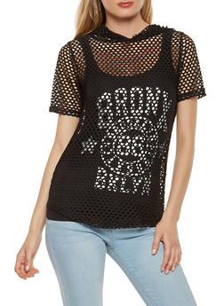 Fishnet Tee with Graphic Tank Top - 0302038347228