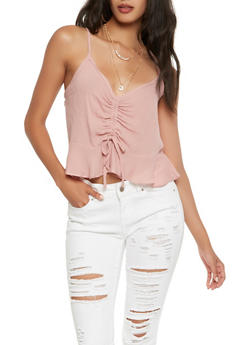 Drawstring Front Ruffle Hem Crop Top - 0302054260558