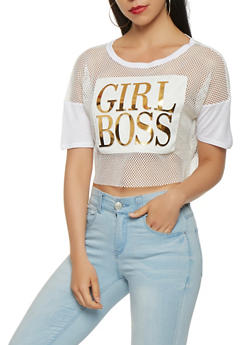 Girl Boss Graphic Fishnet Crop Top - 0302074291117