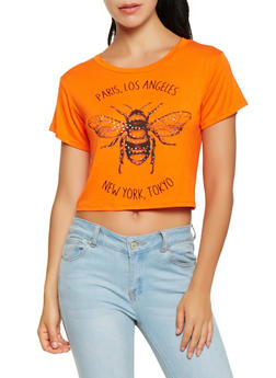 Studded Bee Graphic Cropped Tee - 0302074293000