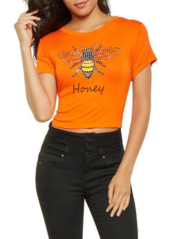 Studded Bee Graphic Cropped Tee - 0302074293001