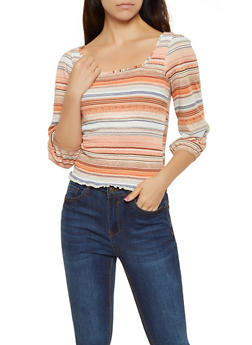 Striped Smocked Front Top - 0303015990086