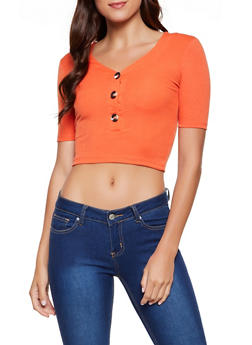 Ribbed Half Button Crop Top - 0303038349100