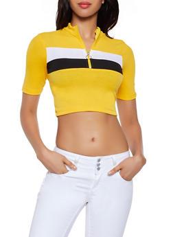 Color Block Zip Neck Crop Top - 0303038349113