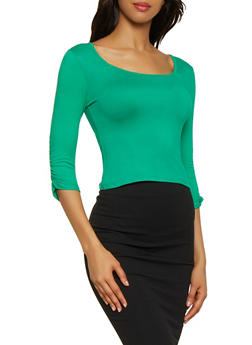 Ruched Sleeve Square Neck Top - 0303038349262
