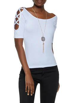 Caged Shoulder Top with Necklace - 0303038349264