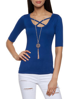 Caged Neck Tee with Necklace - 0303038349269