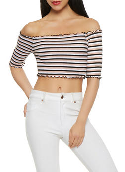 Striped Off the Shoulder Crop Top - 0303058751063