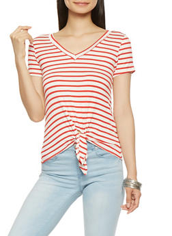 Striped Tie Front Tee - 0303058751065