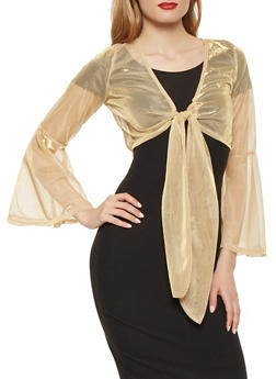 Shimmer Knit Tie Front Crop Top - 0303074291126