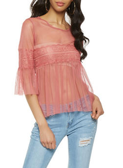 Bell Sleeve Lace Trim Mesh Top - 0303074291128