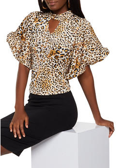 Animal Print Structured Sleeve Top - 0303074292024