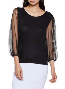 Mesh Long Sleeve Top - 0303074293027
