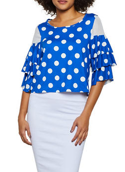 Polka Dot Mesh Insert Top - 0303074293081