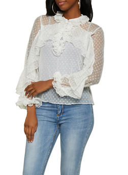 Swiss Dot Mesh Top - 0304074293095