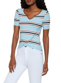 Striped Rib Knit Knot Front Top - 0305015990659