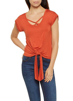 Crochet Back Tie Front Top - 0305015990670