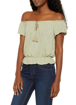 Tassel Off the Shoulder Top - 0305015990674