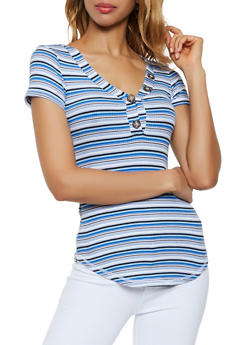 Striped Button Detail Tee - 0305015990758