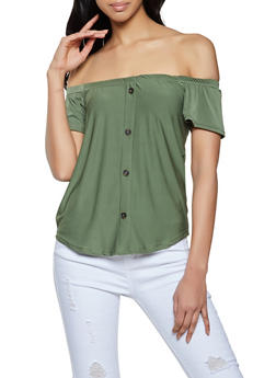 Button Detail Off the Shoulder Top - 0305038340125