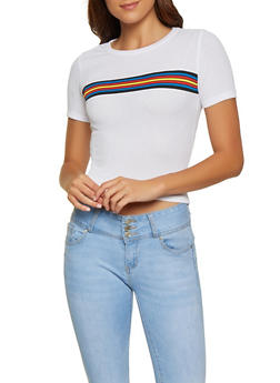 Striped Detail Ribbed Tee - 0305038349109