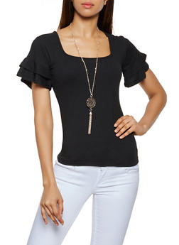 Tiered Short Sleeve Top with Necklace - 0305038349251