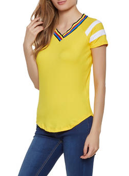 Striped Tape V Neck Tee - 0305038349253