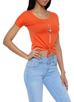 Tie Front Tee with Necklace - 0305038349270