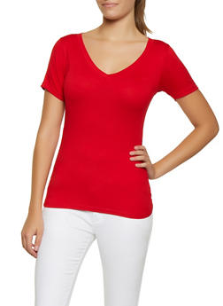 Ruched Side Soft Knit Tee - 0305038349275