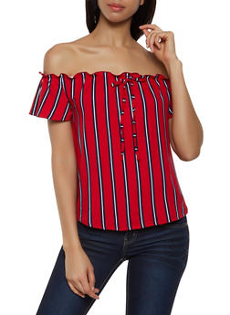 Striped Tie Front Off the Shoulder Top | 0305038349317 - 0305038349317