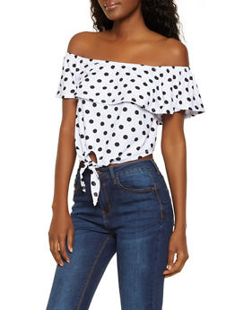 Printed Off the Shoulder Crop Top | 0305038349322 - WHITE - 0305038349322