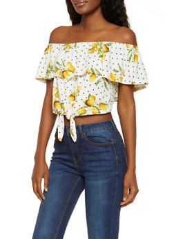 Printed Off the Shoulder Crop Top | 0305038349322 - 0305038349322