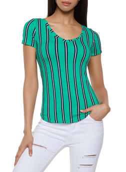 Striped Soft Knit Tee - 0305038349329