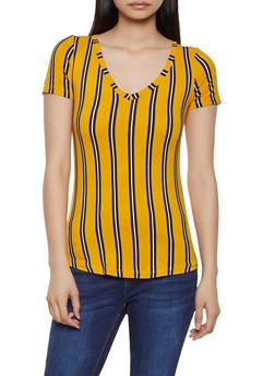 Striped Soft Knit Tee - 0305038349329