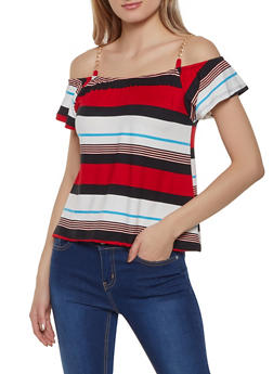 Striped Chain Cold Shoulder Top - 0305038349335