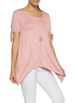 Tie Sleeve Asymmetrical Top with Necklace - 0305038349371