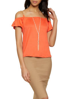 Chain Detail Cold Shoulder Top with Necklace - 0305038349372