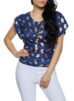 Foil Feather Print Knit Top with Necklace - 0305038349385
